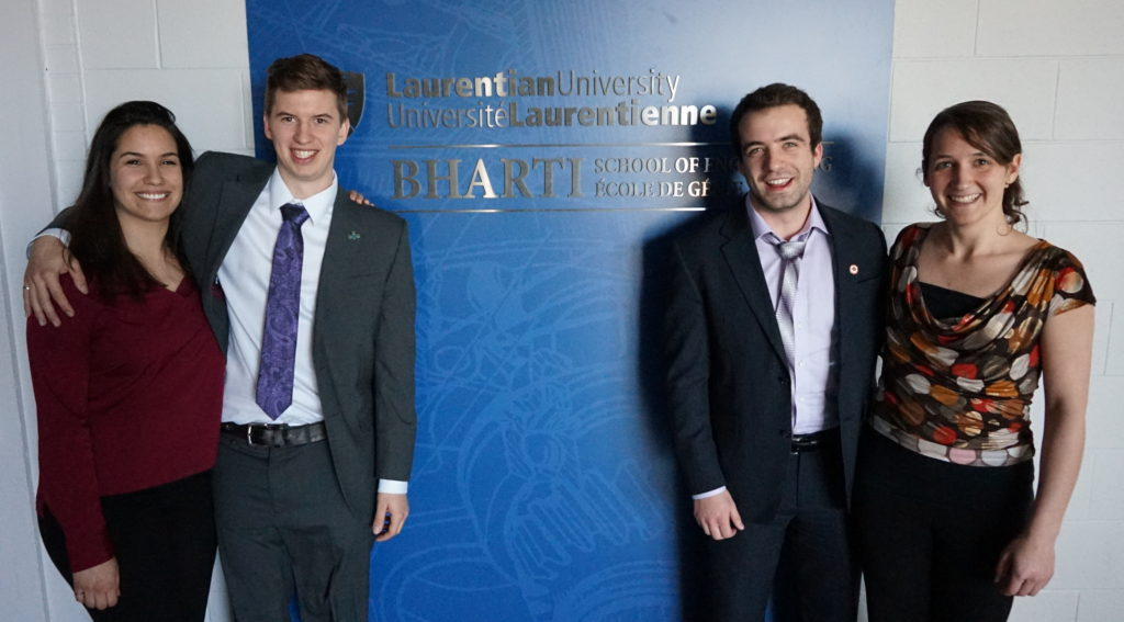 The Laurentian University Bharti School of Engineering 2016 Consulting Team (L-R): Jasmina Omri, Joey Fyfe, Tyler Provencal, Frédérique Bélanger.