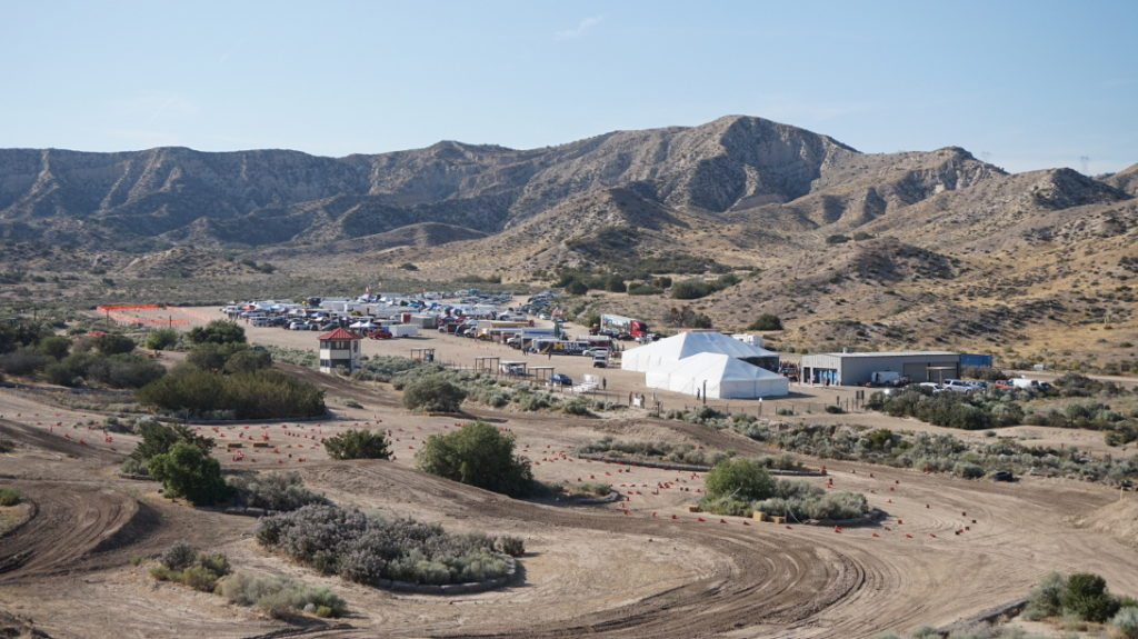 View of the 93 Baja teams set-up at the Quail Canyon Special Events Area.
