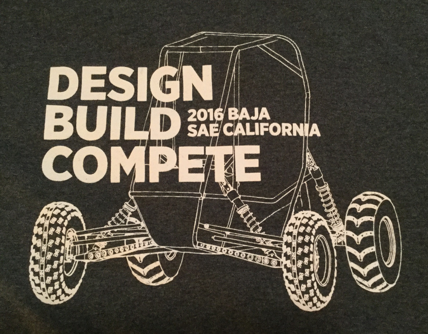 Front of the T-shirt supplied to all Baja SoCal competitors.