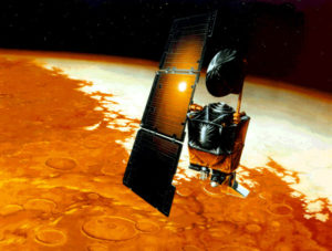 Artist's rendition of the Mars Climate Orbiter. Image courtesy NASA/JPL-Caltech.